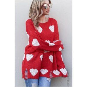 RED/WHITE  HEARTS DISTRESSED  SWEATER